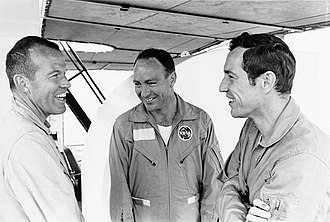 Gordon Cooper - Apollo 10 backup crew (left to right) Cooper, Edgar Mitchell, and Donn Eisele during water egress training in April 1969.