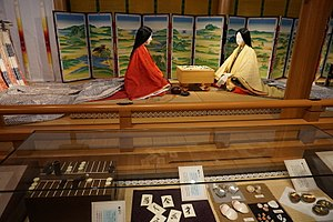 The Tale of Genji Museum - Court ladies in Tale of Genji museum showing a scene from the book