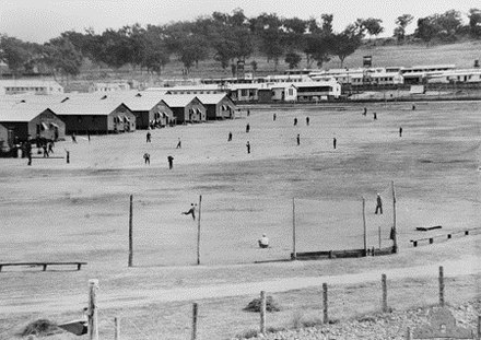Japanese POW camp in Cowra, 1944, several weeks before the Cowra breakout Cowrapowcamp.jpg
