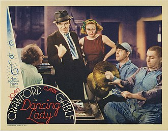 Dancing Lady - Lobby card, L-R: Larry Fine, Ted Healy, Joan Crawford, Moe Howard, and Curly Howard