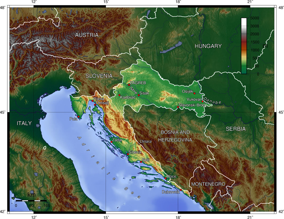 Geography Of Croatia Wikipedia - Croatia physical map