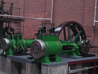 Compound steam engine - A Robey horizontal 'cross-compound' steam engine: the smaller, high-pressure cylinder is on the left; the larger, low-pressure cylinder on the right