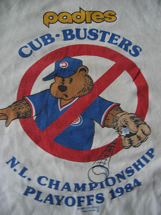 History of the San Diego Padres - Cub-Busters T-shirts were popular with Padres fans in 1984 postseason.