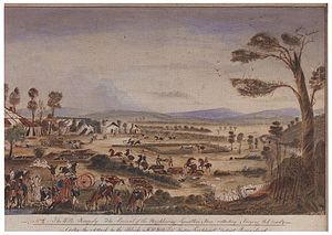 """Cullin-la-ringo massacre - T.G. Moyle, The Wills Tragedy, 1861. The caption reads: """"The arrival of the neighbouring squatters and Mon collecting and burying the dead, after the attack by the blacks on H.R. Wills ESQ. Stationed Leichhardt district, Queensland""""."""