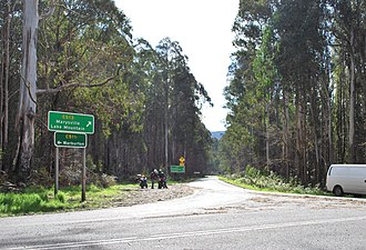 Cambarville, Victoria - Cumberland Junction - the intersection of roads leading to Warburton, Marysville and Woods Point