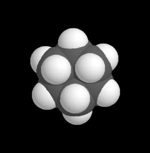 Space-filling model - Image: Cyclohexanmolekülmod ell