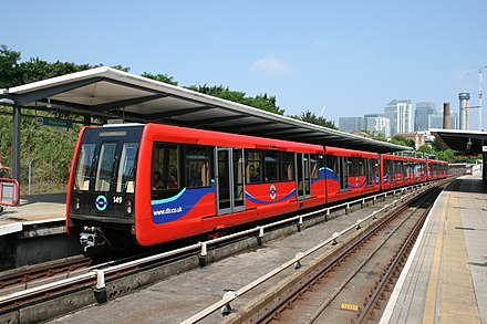 London's Docklands Light Railway is run by Transport for London. DLR train (14759565735).jpg