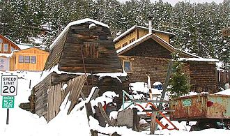 Gold Hill, Colorado - Modern residences around ruins of historic mining structures in Gold Hill