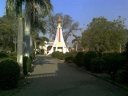 'Prerna Stambh' (inspiration torch tower) in Dhanaji Nana Mahavidyalaya, Faizpur, which was inaugurated by former prime minister Rajiv Gandhi in March 1988
