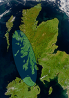 Satellite image of northern Britain and Ireland showing the approximate area of Dál Riata (shaded).