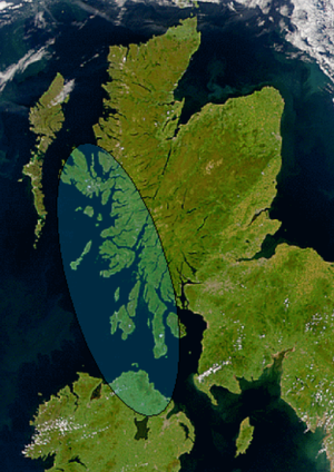 Dál Riata - Satellite image of Scotland and Ireland showing the approximate greatest extent of Dál Riata (shaded). The mountainous spine which separates the east and west coasts of Scotland can be seen.