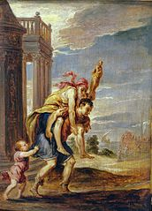 Aeneas fleeing Troy (after Andrea Schiavone)