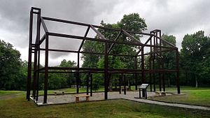 "Randolph County, Arkansas - A ""ghost structure"" in Davidsonville Historic State Park. The park preserves and interprets the history of one of Arkansas's earliest settlements, which was abandoned by the 1830s."