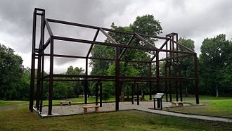 """Davidsonville Historic State Park - """"Ghost structure"""" at the Davidsonville town site to illustrate a former structure"""