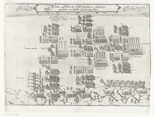 De Staatse en Spaanse legers staan tegenover elkaar op het strand bij Nieuwpoort (rechterblad), 1600, RP-P-OB-80.539B