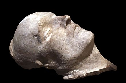 Francois Carlo Antommarchi's death mask of Napoleon, Musee de l'Armee, Paris. Death mask of Napoleon-IMG 1535-black.jpg