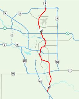 freeway section of Alberta Highway 2 in Calgary, Alberta, Canada