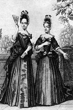 """Maison royale de Saint-Louis - Two """"Demoiselles de Saint-Cyr""""."""