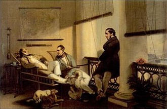 Lancelot Dent - Dent's verandah, showing French merchant Durant on a rattan chair, W.C. Hunter, and Captain William Hall, by George Chinnery