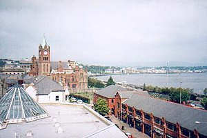 English: Derry Guildhall. Looking over the roo...