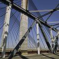 Detail van de brug- constructie. Op de achtergrond de tuien en betonnen drager van de Martinus Nijhoffbrug - Zaltbommel - 20384817 - RCE.jpg