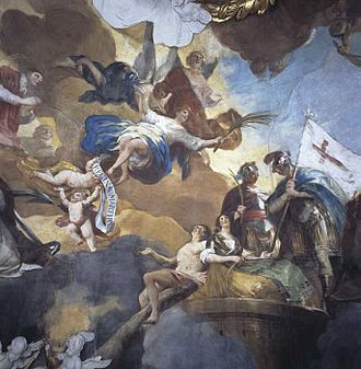 Cathedral-Basilica of Our Lady of the Pillar - Detail of the fresco of The Queen of Martyrs in the dome, painted by Francisco Goya