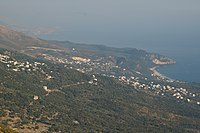 Dhërmi and surroundings from Llogara.JPG