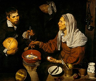 Bodegón - Old Woman Frying Eggs, by Diego Velázquez, 1618 (National Gallery of Scotland)