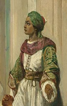 A painting of a man in a turban, looking left