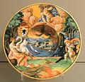Dish with scene from the story of Leda and the Swan, 1531-1544, Italy, probably Urbino, Cardinal Antonio Pucci, tin-glazed earthenware (maiolica) - Gardiner Museum, Toronto - DSC01278.JPG