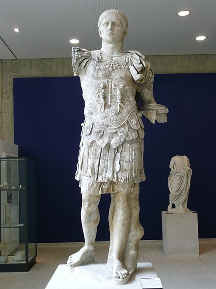 Domitian in military garb, wearing the muscle cuirass with decorative reliefs, from Vaison-la-Romaine, France Domitian Vaison-la-Romaine.jpg