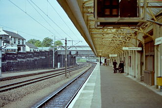 Carstairs railway station - Down platform and old station building in June 1983