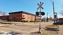 Downtown Sylvania, Ohio railroad crossing.JPG