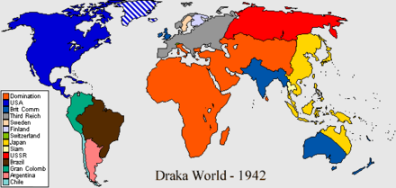 The world of 1942, as depicted at the start of S. M. Stirling's The Domination series Draka42.png