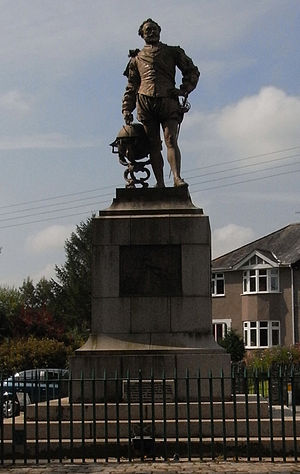 Francis Drake - Bronze statue in Tavistock, in the parish of which he was born, by Joseph Boehm, 1883.