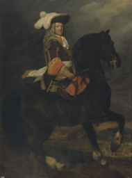 Man on a dark-colored horse