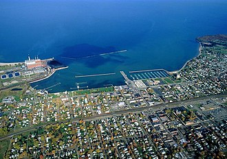 Dunkirk, New York - Aerial view of Dunkirk, facing north over Lake Erie
