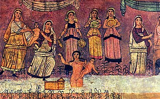 Finding of Moses in the Dura-Europos synagogue, c. 244 Dura Europos fresco Moses from river.jpg