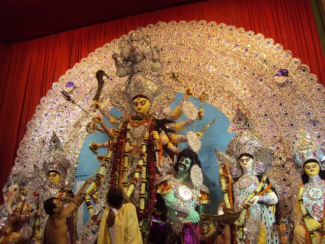 Durga puja, garlands for her