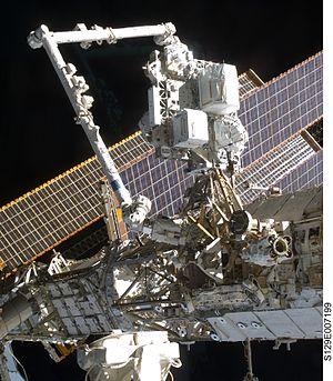 Scientific research on the International Space Station - Image: ELC 2 on the SSRMS prior to its placement on the S3 Truss
