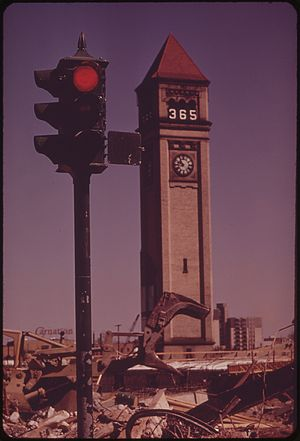 Chinatown, Spokane - The Great Northern Railroad Depot Clocktower in 1973, exactly one year before the Expo opened.