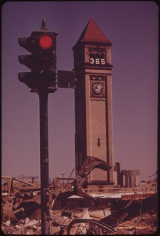 Expo '74 - The Great Northern Railway Depot Clocktower in 1973, exactly one year before the Expo opened.