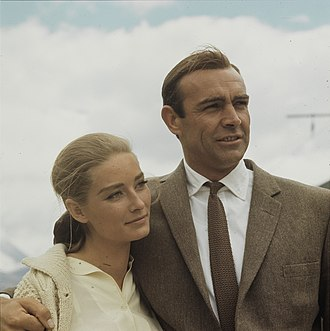 Connery as Bond (with co-star Tania Mallet) while filming Goldfinger in 1964 ETH-BIB Goldfinger 1964 - Com C13-035-007.jpg