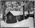 EXTERIOR, WEST VIEW - Giant Forest Lodge Historic District, Cabin No. 27-28, Three Rivers, Tulare County, CA HABS CAL,54-THRIV.V,1-L-4.tif