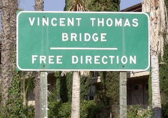 Vincent Thomas Bridge - Eastbound entrance from N. Harbor Blvd., San Pedro, California as of September 2011
