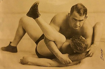 Lewis pins an opponent in 1929 Ed Strangler Lewis Signed 1929 8x10.jpg
