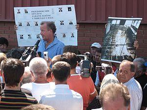 Omarska camp - Ed Vulliamy speaking at the 2006 Omarska camp commemoration