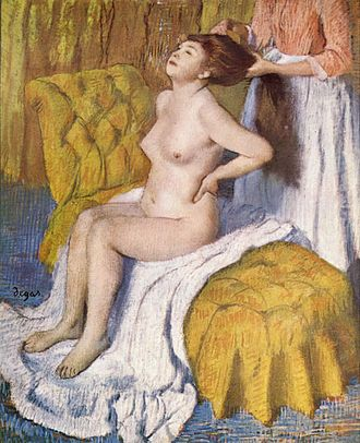 Bathsheba at Her Bath (Rembrandt) - Edgar Degas, Woman Having her Hair Combed, c. 1885, is reminiscent of Rembrandt's painting.