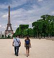 Eiffel Tower from Champ-de-Mars, Paris 12 June 2015.jpg
