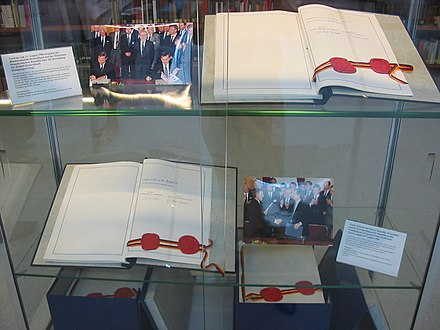 The two original copies of the Unification Treaty signed on 31 August 1990. West German Interior Minister Wolfgang Schauble signed for the FRG and the East German State Secretary Gunther Krause signed for the GDR. EinigungsvertragBRD-DDR.JPG